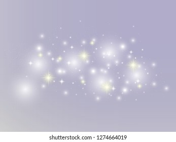 Vector illustration of a night starry sky on light violet colorful background. Cosmic dust. Particles of star, cosmic dust. White glowing effect. Flare, glitter, glister, sparkling light effect.