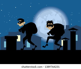 Vector illustration of night thieves on the roof