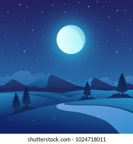 Vector illustration of night time nature landscape in the Countryside with a Full moon and a Stary sky