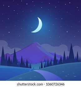 Vector illustration of night time nature landscape in the Countryside with trees and a stary sky