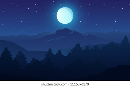 Vector illustration of night time nature landscape in the forest with a Mountain, Full moon and a Starry sky