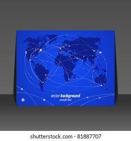 Vector illustration night travel world map flyer design