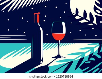 Vector illustration of a night view with a bottle and a glass of red wine in vintage style on the background of the moon and tropical leaves.