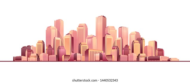 Vector illustration of a nightly abstract glowing city with multi-storyed houses banners on a white background