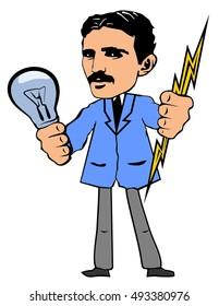 Vector illustration. Nikola Tesla.   Nikola Tesla is keeping a light bulb and lightning in the hands