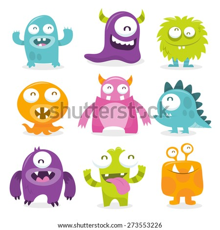 Vector illustration of nine monsters with toothy grins.