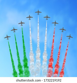 Vector illustration with nine planes and trails in green, white, and red colors of the flag of Italy, Mexico, or Hungary isolated on sky background. Good for national holiday greeting cards, posters,