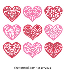A vector illustration of nine various lace fretwork hearts set from geometric lace to nature inspired lattice heart shape.