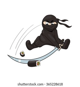 Vector illustration of a ninja with a weapon (katana) and sushi (rolls). Illustration isolated on white background.