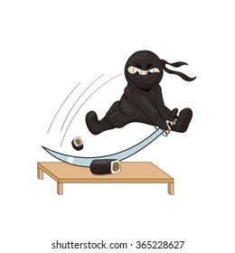 Vector illustration of a ninja with a weapon (katana). He slices sushi (rolls) on the japanese kotatsu. Illustration isolated on white background.