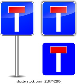 Vector illustration of no exit road sign on white background