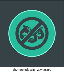 Vector illustration of no hidden fees icon, flat round icon