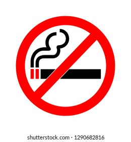 Vector illustration of no smoking sign isolated on white background