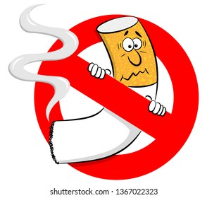 vector illustration of a no smoking sign with cartoon cigarette