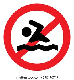 Vector illustration of no swimming red and white sign