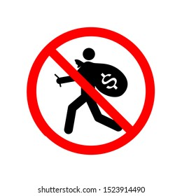 Vector illustration of the no thief symbol on a white background.