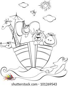 vector illustration of a Noah arc