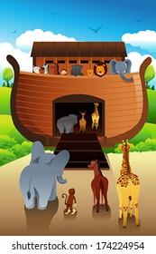 A vector illustration of Noahs ark