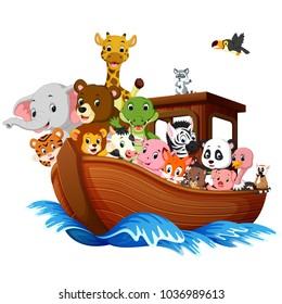 vector illustration of Noah's Ark cartoon