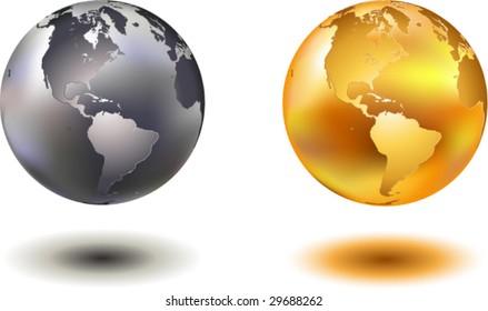 vector illustration of noble hovering chrome and golden glass world globe
