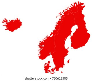 vector illustration of Nordic countries map