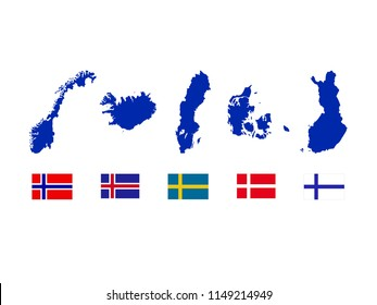 vector illustration of Nordic countries maps and flags