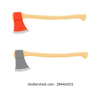 A vector illustration of a normal and red fire axe. Axe Icon illustration. Traditional axes used for logging and fire rescue.