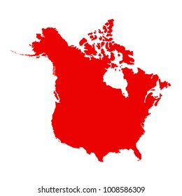 vector illustration of North America map with Canada and USA