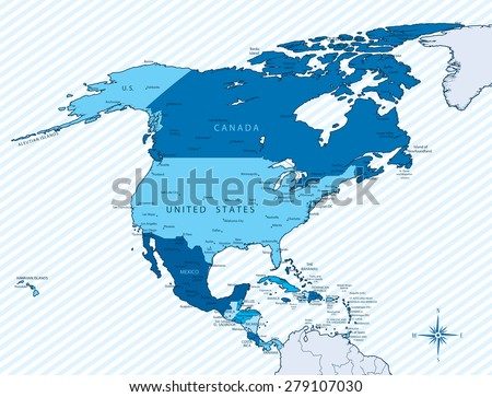 vector illustration north america map countries stock vector