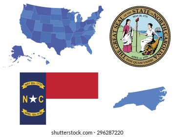 Vector illustration of North Carolina contains: High detailed map of USA High detailed flag of state North Carolina High detailed great seal of North Carolina State North Carolina, shape