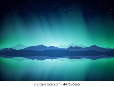 Vector illustration: Northern landscape with Aurora, lake and mountains on the horizon.