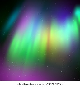 Vector illustration of northern lights background in green and violet colors.