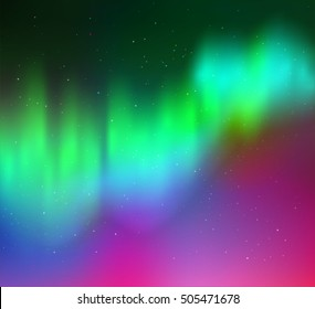 Vector illustration of northern lights background in green, cyan and magenta colors.