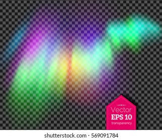 Vector illustration of northern lights in green and violet colors isolated on transparency background.