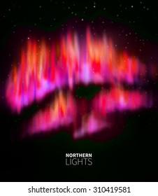 Vector illustration Northern Lights. Polar Lights. Magnetic storms. Starry sky. EPS 10