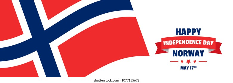 Vector illustration for Norway Independence Day celebrations with patriotic design elements and flag. Can be used for banner, poster, background, brochure, print, symbol, label, icon, ensign, and logo