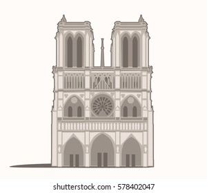 Vector Illustration of the Notre-Dame in Paris
