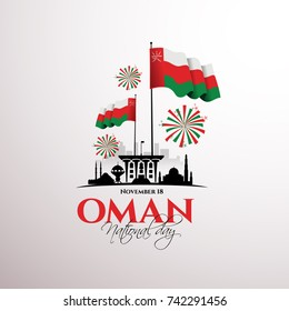 vector illustration November 18th Sultanate of Oman . National Day, celebration republic, graphic for design elements. vector view of the city the capital of Oman, Mascat