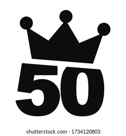 Vector illustration of number 50 with a crown on the top - Fiftieth birthday graphic design