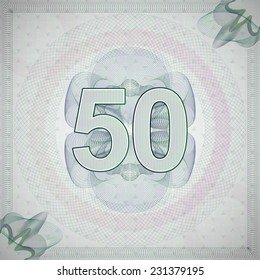 vector illustration of number 50 (fifty) in guilloche ornate style. monetary banknote background
