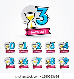 Vector Illustration Number of Days Left with Sand Timer Hourglass Badge for Sale, Promotion or Retail