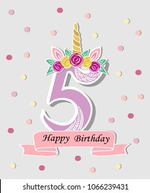 Vector illustration with number Five, Unicorn Horn, ears and flower wreath. Template for birthday, party invitation, greeting card. Cute Number Five as logo, patch, sticker.