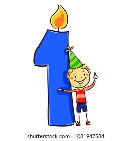 Vector Illustration of Number one candle with stick Figure Little Boy Kid wearing party hat