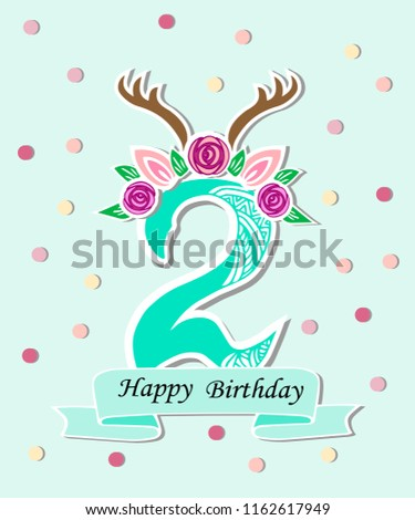 vector illustration number two antlers flower stock vector royalty