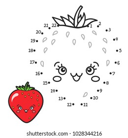 Vector illustration: Numbers game  connect dot to dot. Color the contour of funny character a Strawberry using a sample isolated on white background.  For children education and pastime.
