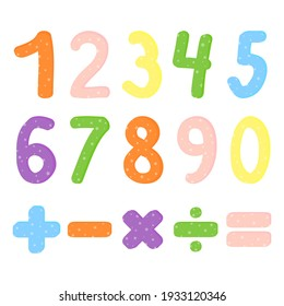 Vector illustration with numbers from zero to nine and math symbols. For children studying arithmetics, mathematics or for birthday invitation, party card decoration, anniversary, carnival.