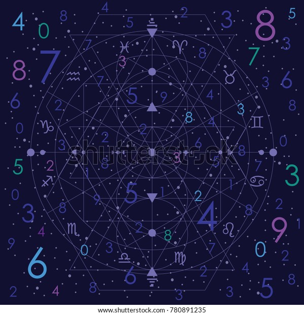 vector illustration of numerology concept on night cosmic blue sky background