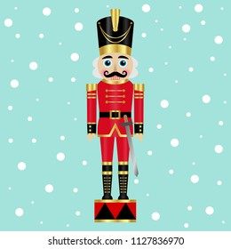Vector illustration of a nutcracker with sword on a snow background