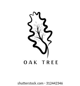 vector illustration of oak tree in the leaf