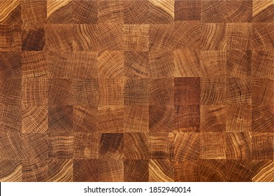 Vector illustration of oak wooden butcher chopping block, natural durable end grain hard wood board texture background pattern, close up